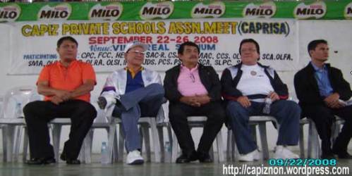 Hon. M. Albar; Dr. E. Seneres, Gov. Tanco, Msgr. Hilata and Fr. Gaurino during the opening ceremony of CAPRISA Meet 2008