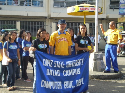 Engr. Amanguiton, Chairman, CAPSU Dayao Computer Education Department with students