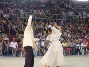 A Bikolano couple dancing Pantomina.